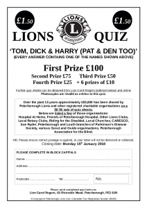 Peterborough Lions Quiz 2017/18