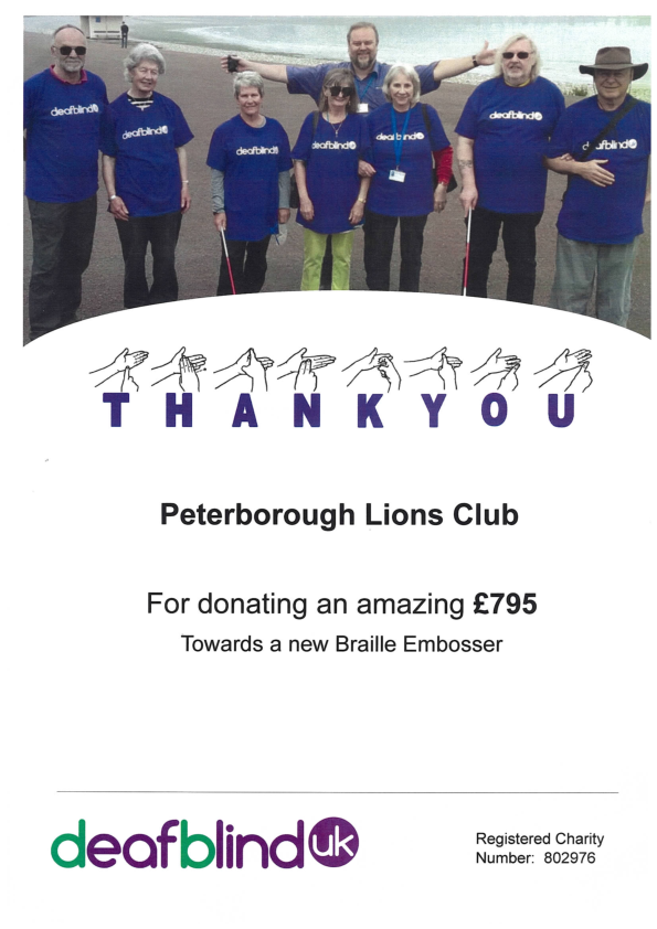 "A well received ""Thank You"" to Peterborough Lions Club from Deaf Blind UK"