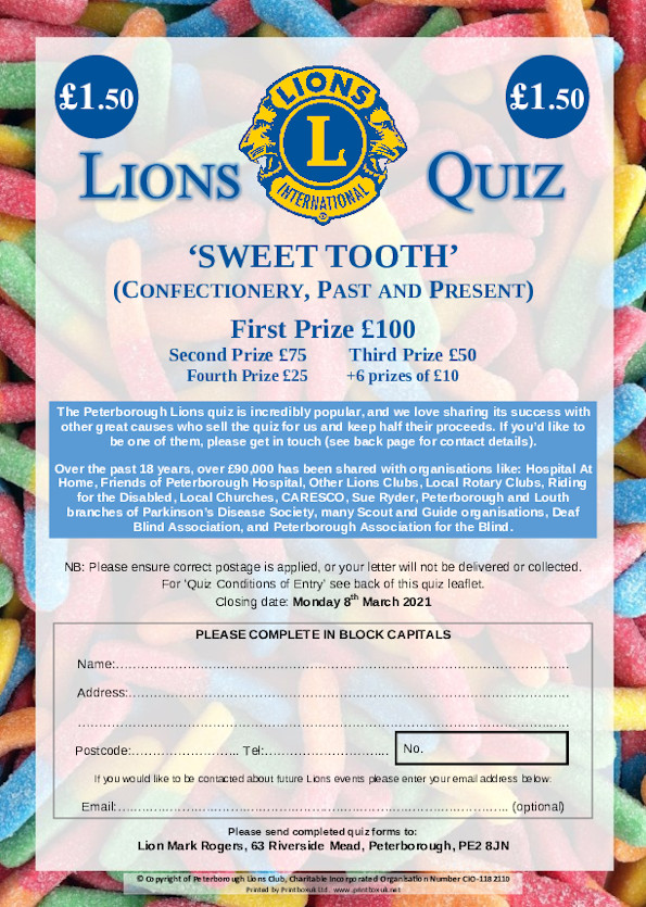 "Peterborough Lions Club ""Sweet Tooth"" front cover image"
